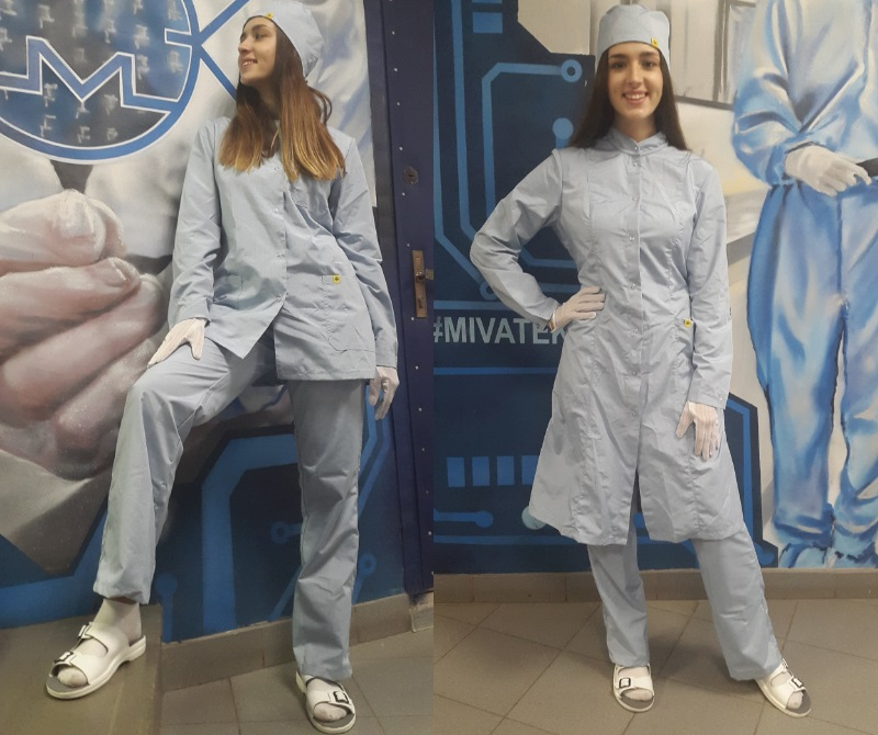 Антистатический халат голубой
