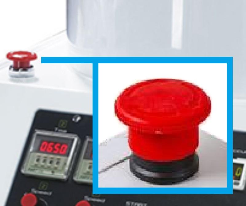 Кнопка аварийного выключения центрифуги для нанесения фоторезиста