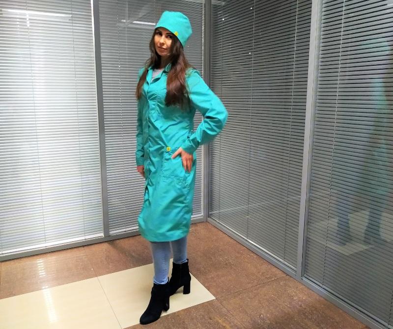 Антистатические халаты зеленого цвета